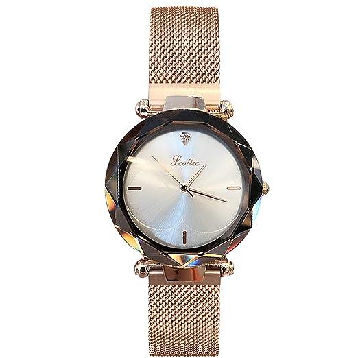 34a282a1b20 RORIOS Mode Femme Montres Bracelet Ciel étoilé Quartz Analogique Magnétique  Mesh Band Dial