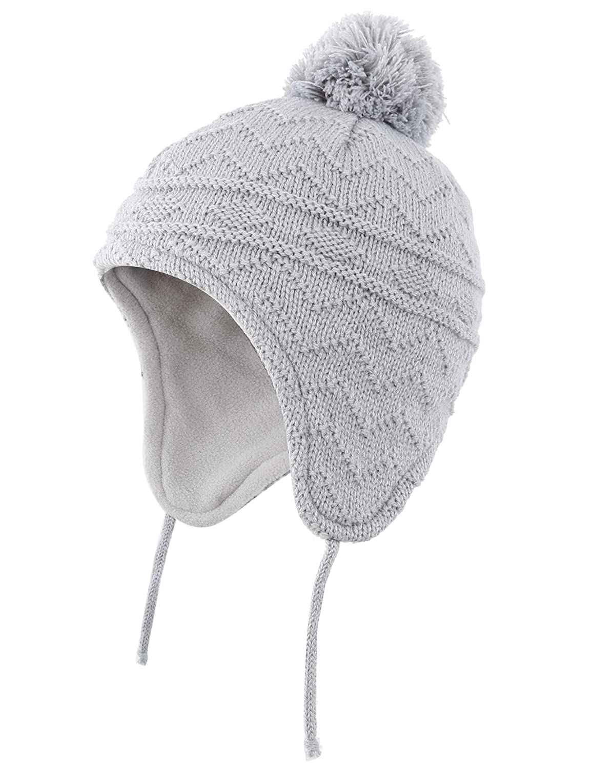 e969fa71241 Amazon.com  Connectyle Toddler Boys Girls Fleece Lined Knit Kids Hat with  Earflap Winter Hat  Clothing