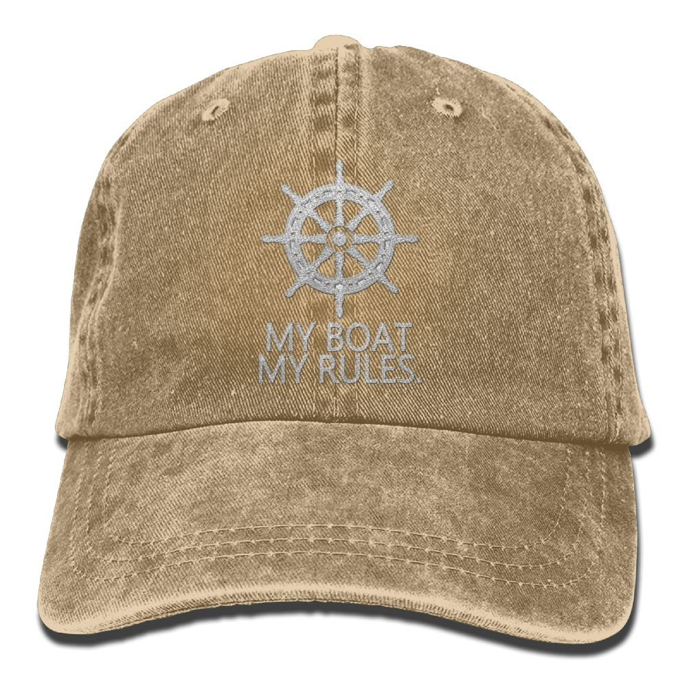 KWISISI My Boat My Rules Adult Embroidered Cowboy Hat Sports Hat