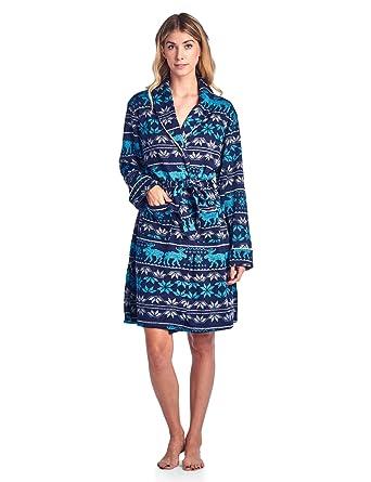 32b0927dec6e Ashford   Brooks Women s Sweater Fleece Printed Lounge Robe - Fairisle  Moose Aqua - Small