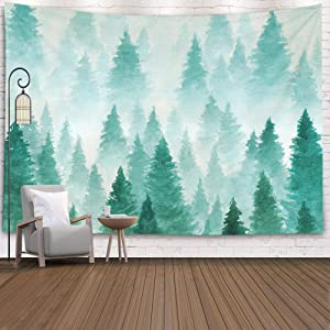 EMMTEEY Hanging Tapestry Wall Art,Tapestries Décor Living Room Bedroom for Home Inhouse by Printed 60x60 Inches for Background Painted with Watercolor Hand Drawn Landscape of Foggy Forest Winter