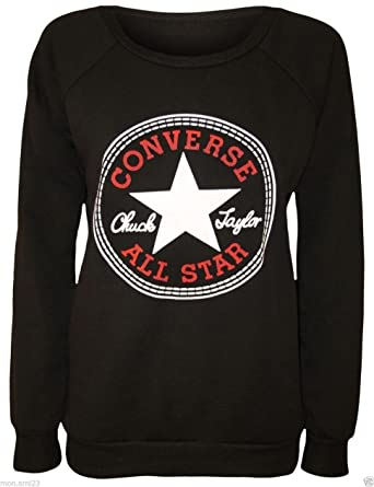 77aeaca4f7a59d WOMENS LADIES SWEATER LONG SLEEVES CONVERSE ALL STAR PRINT SWEATSHIRT JUMPER  TOP 8-14 (M L Black 10-12)  Amazon.co.uk  Clothing