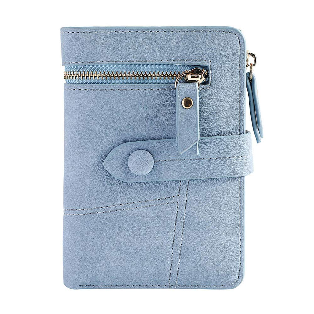 Clearance!Women Simple Retro Zipper Short Wallet Coin Purse Card Holders Handbag Card Holder Coin Purse (Blue)
