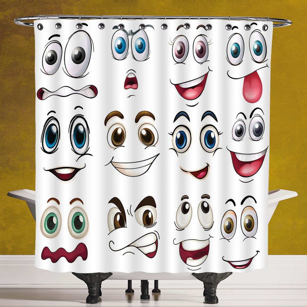 Polyester Shower Curtain 3.0 [Cartoon Decor,Smiley Face Emoji Cartoon Hand Drawing Image with Positive Face Expressions,Multicolor] Polyester Fabric Bath Decorative Curtain Ideas