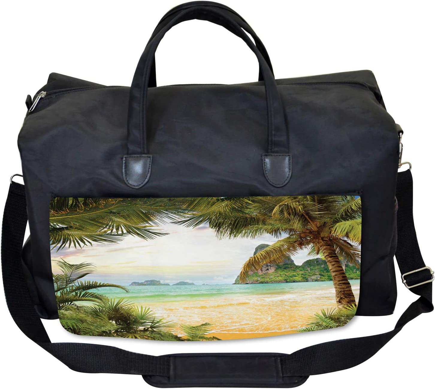 Palm Coconut Trees Beach Large Weekender Carry-on Ambesonne Island Gym Bag