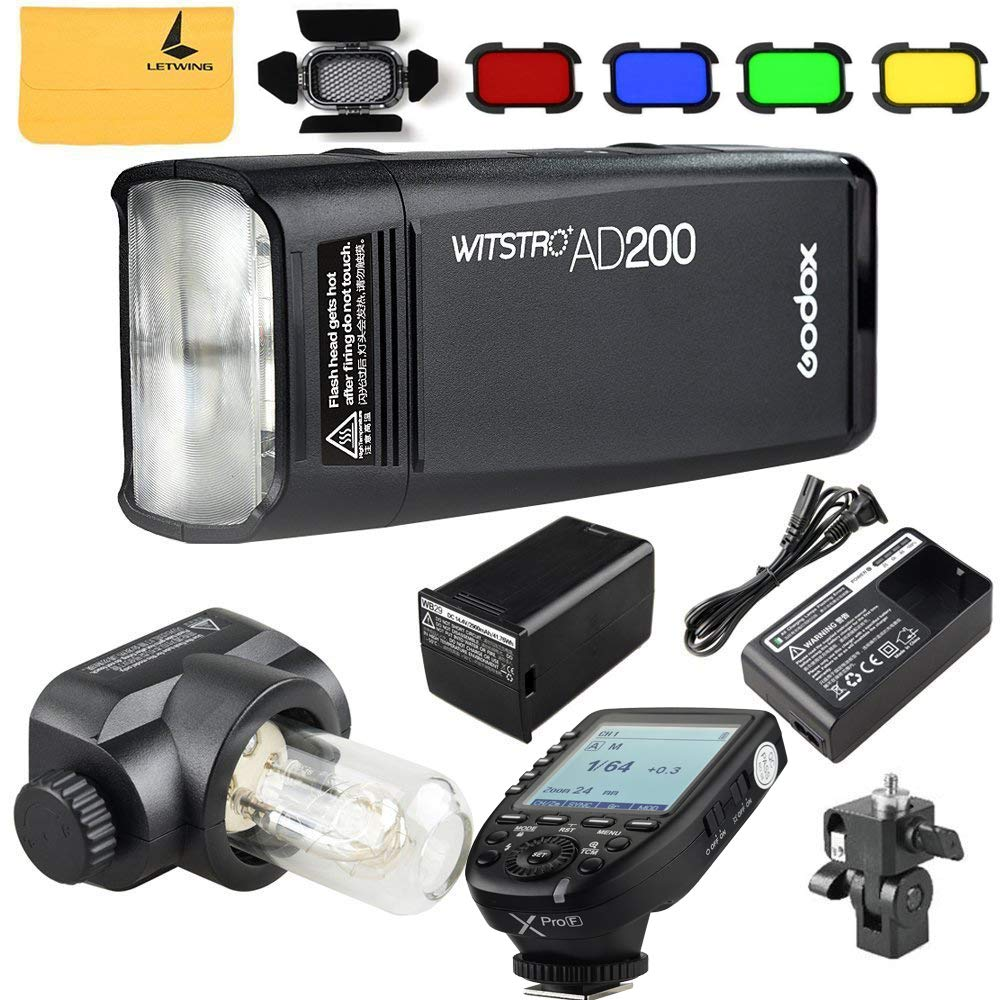 Godox AD200 TTL 2.4G HSS 1/8000s Pocket Flash Light Double Head 200Ws 2900mAh Lithium Battery+Godox XPro-F Flash Trigger Transmitter Compatible for Fuji Cameras by Godox
