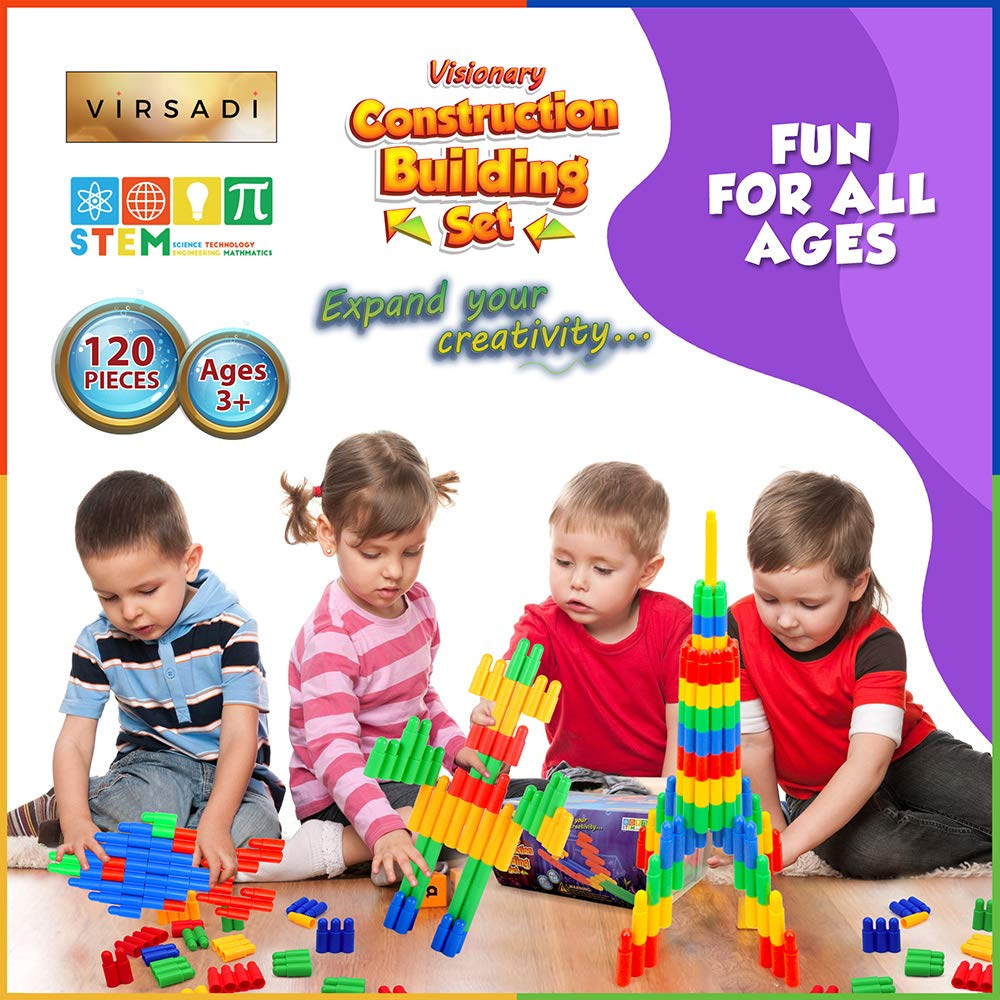 Construction Engineering Learning Resources for Montessori Best Toy Gift for Kids /& Family Virsadi Stem Educational Toy for Boys /& Girls Age 3 4 5 6 7 8 9 10 11 Creative Building kit with 120pc