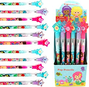 TINYMILLS 24 Pcs Mermaids Multi Point Stackable Push Pencil Assortment with Eraser for Shark Birthday Party Favor Prize Carnival Goodie Bag Stuffers Classroom Rewards Pinata Fillers