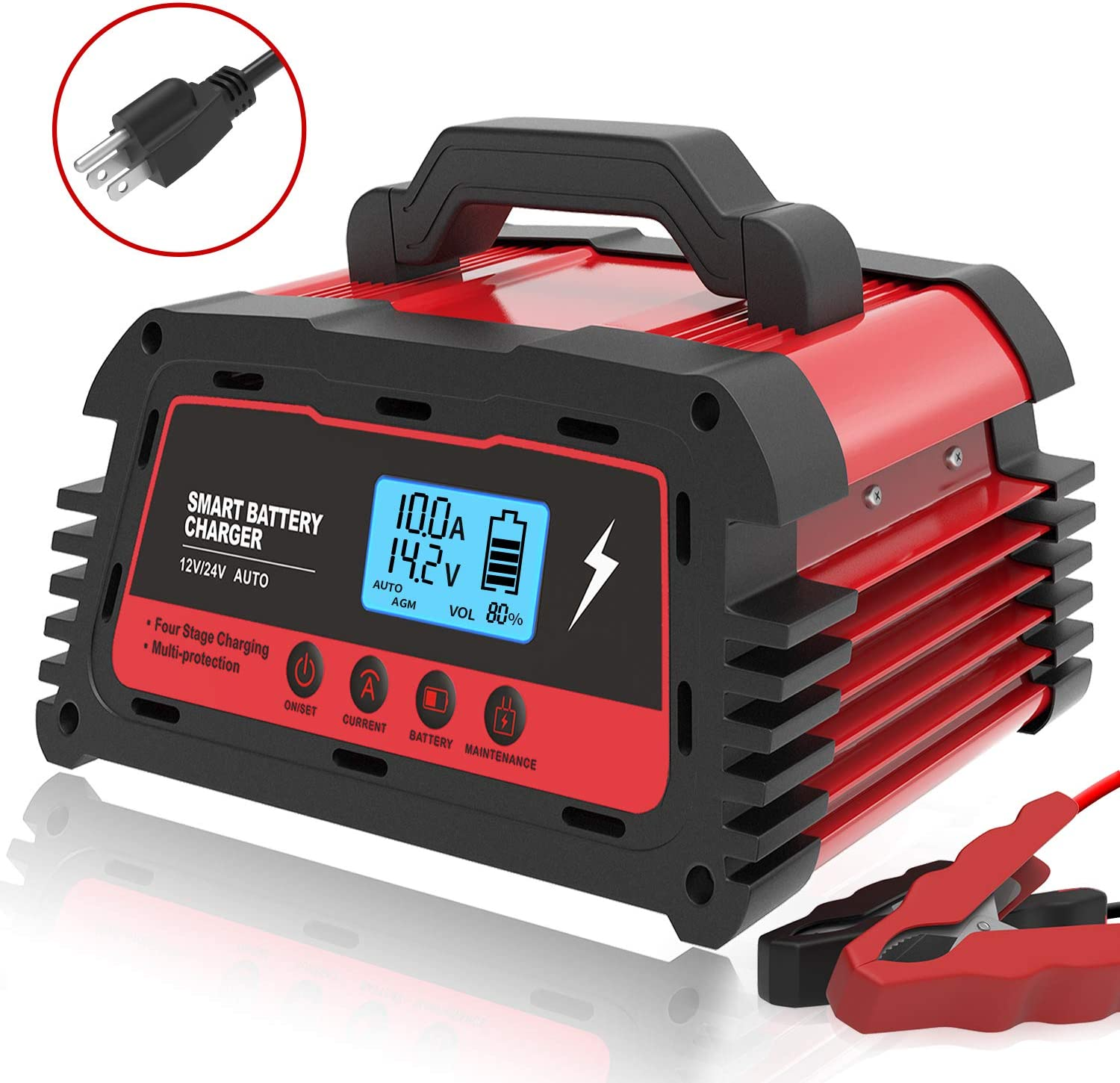 ATian Car Battery Charger 12V/20A 24V/10A Smart Fully Automatic Battery Maintainer Auto-Volt Detection with LDC Display for Car Motorcycle Lawn Mower VRLA SLA AGM GEM WET Lead Acid Batteries (Red)