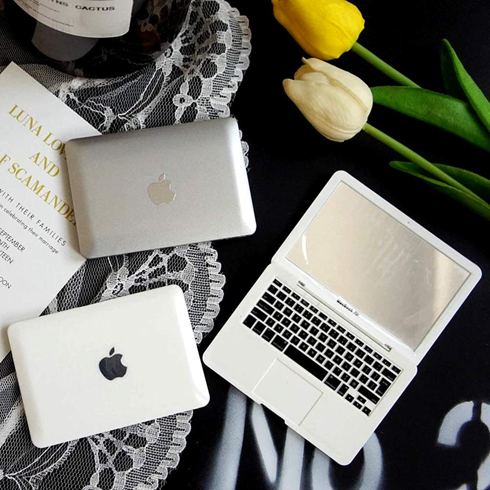 Homyu MacBook Air Style Makeup Mirror Mini Laptop Cute Pocket Size Mirror Portable Compact for Makeup Travel (White)