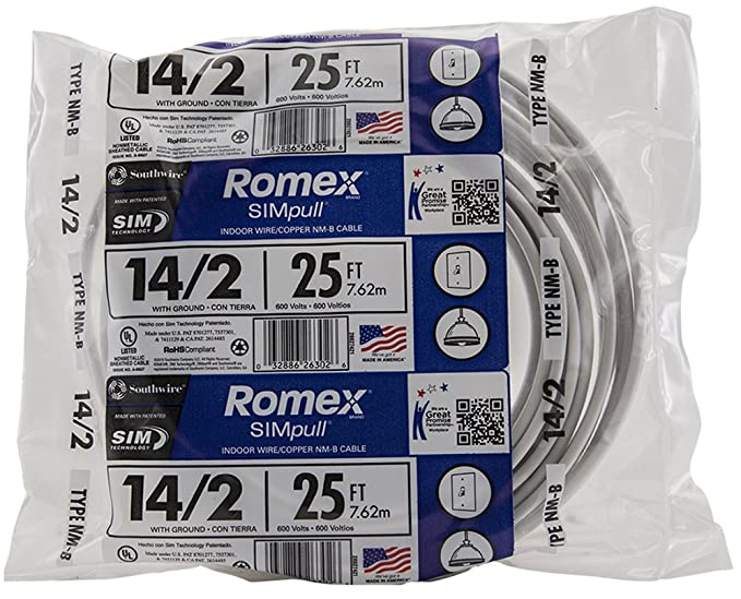 Southwire 28827421 25\' 14/2 with ground Romex brand SIMpull ...