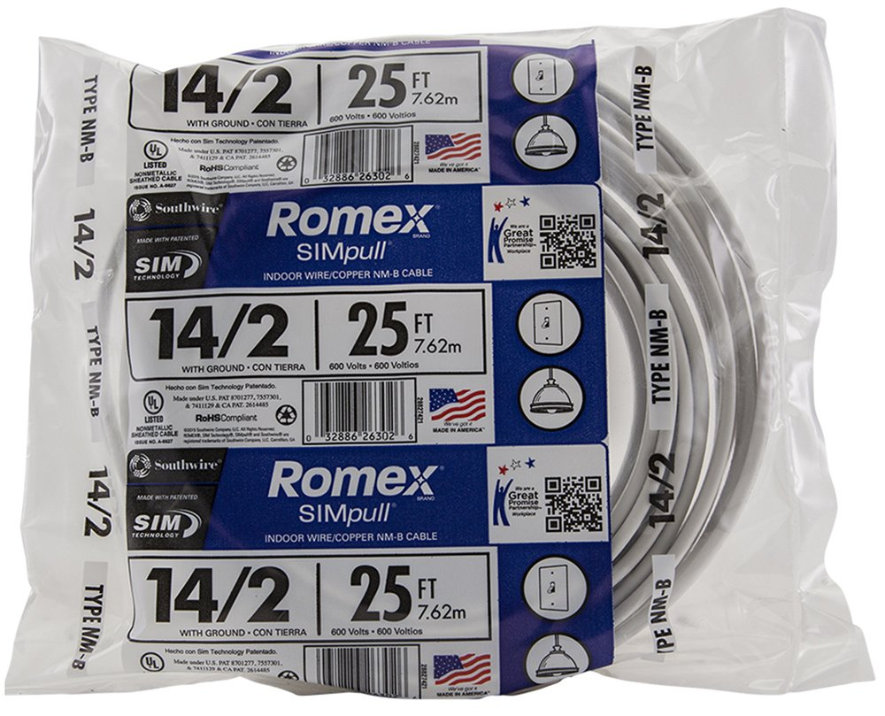 Southwire 28827421 25' 14/2 with ground Romex brand SIMpull residential indoor electrical wire type NM-B, White
