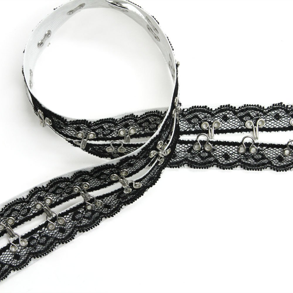 Lace-Covered Riveted Hook & Eye Tape, Made in Italy   B013VTB6BS