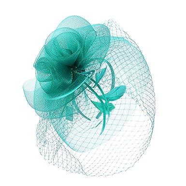 c9d72bcc Striking Turquoise Green Flower Feather Net Mesh Fascinator Ascot Races  Wedding: Amazon.co.uk: Clothing