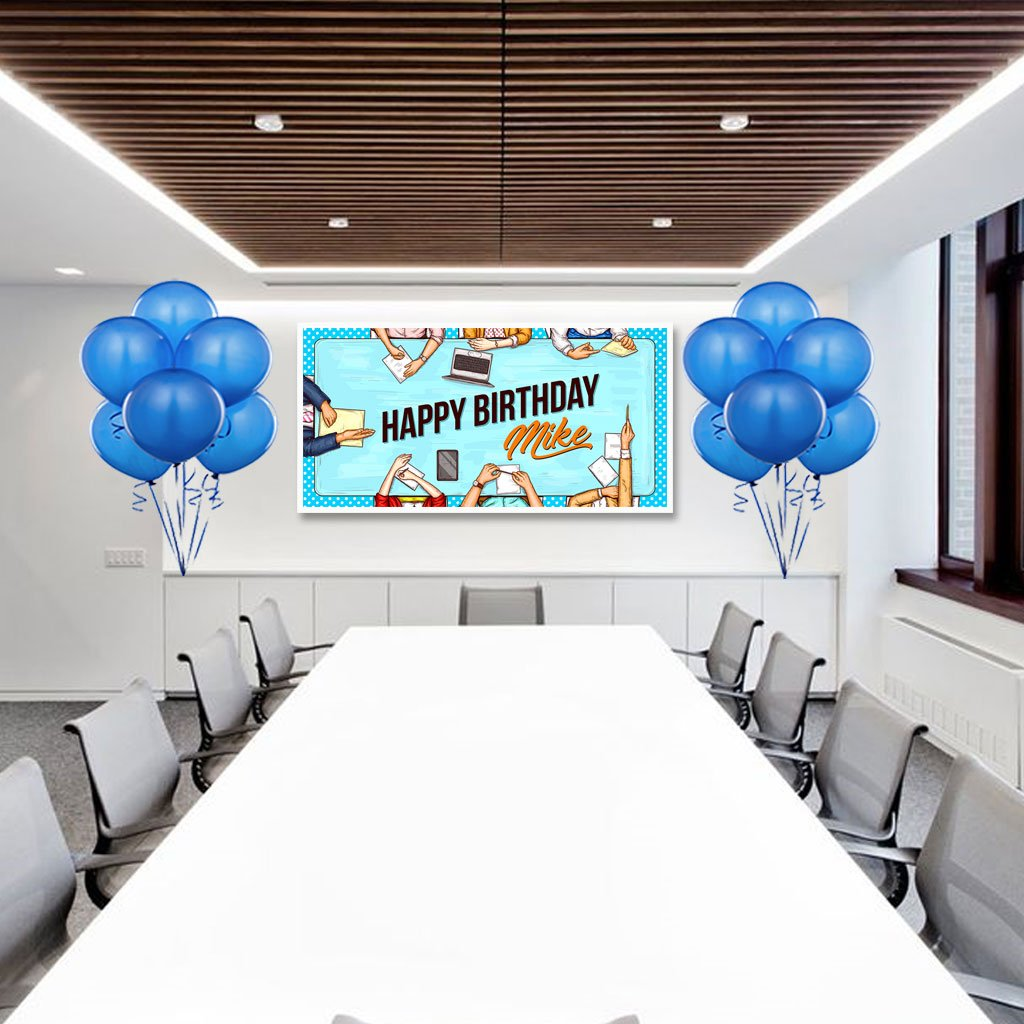 Office Birthday Banner Personalized Party Backdrop Decoration