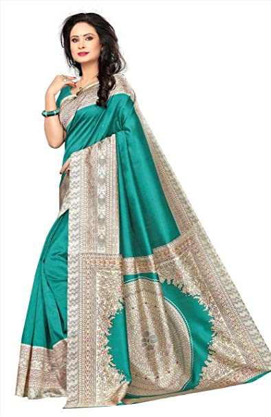 e7d8be1057470 Ethnic Rajwadi Print Kalamkari Mysore Silk Saree