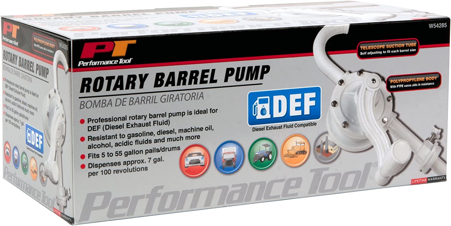Performance Tool W54285 DEF Diesel Exhaust Fluid Rotary Barrel Pump For 55 Gallon Drums