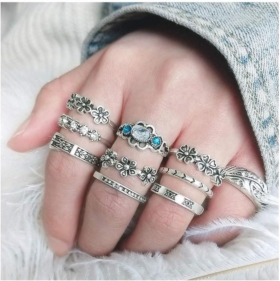 IYOU - Juego de anillos de plata con piedras preciosas para nudillos y nudillos, diseño de flores boho, joyas para mujeres y niñas (10 unidades)