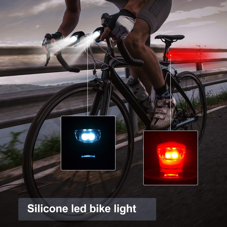 Set de 12 Piezas Luz Delantera y Trasera de Bicicleta LED de Bicicleta de Silicona Faro y Luz Trasera de Bicicleta Impermeable Luz de Bici de Monta/ña de Carretera y 10 Bater/ías Adicionales Incluidas