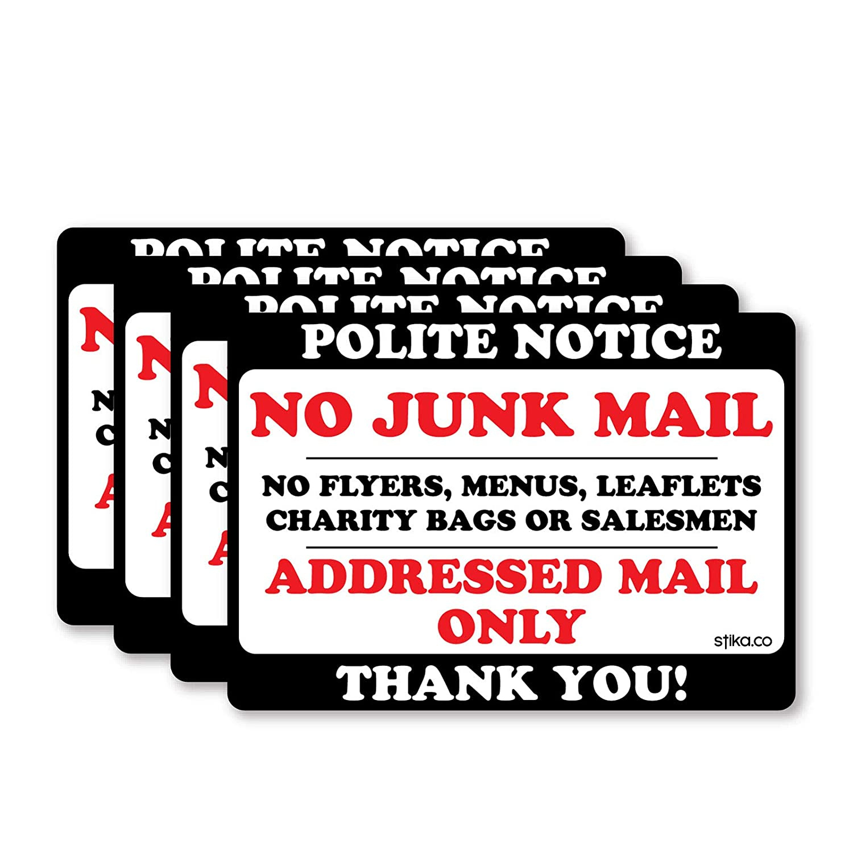10x7cm Door Sticker Sign label decal stika.co Polite Notice No Junk Mail Flyers Leaflets Menus White Vinyl, 1