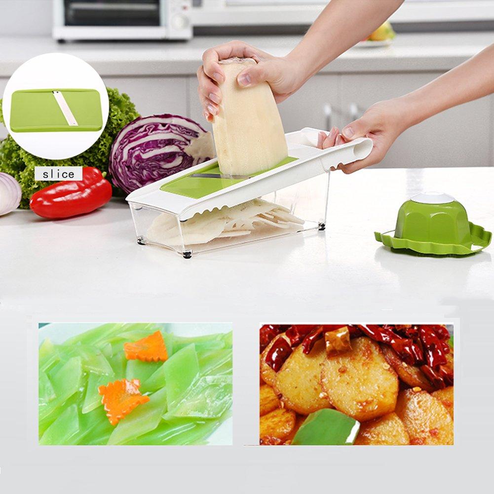 Mandoline Slicer and Dicer Kitchen Vegetable Slicer with 5 Interchangeable Stainless Steel Blades Food Fruit Julienne Slicer Cutter Chopper Dishwasher Safe by Mandoline Slicer (Image #6)