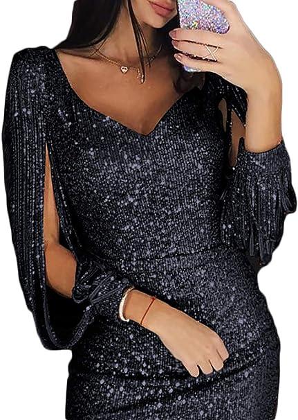 Amazon.com: Yaoyaou - Vestido para mujer, cuello en V, con ...