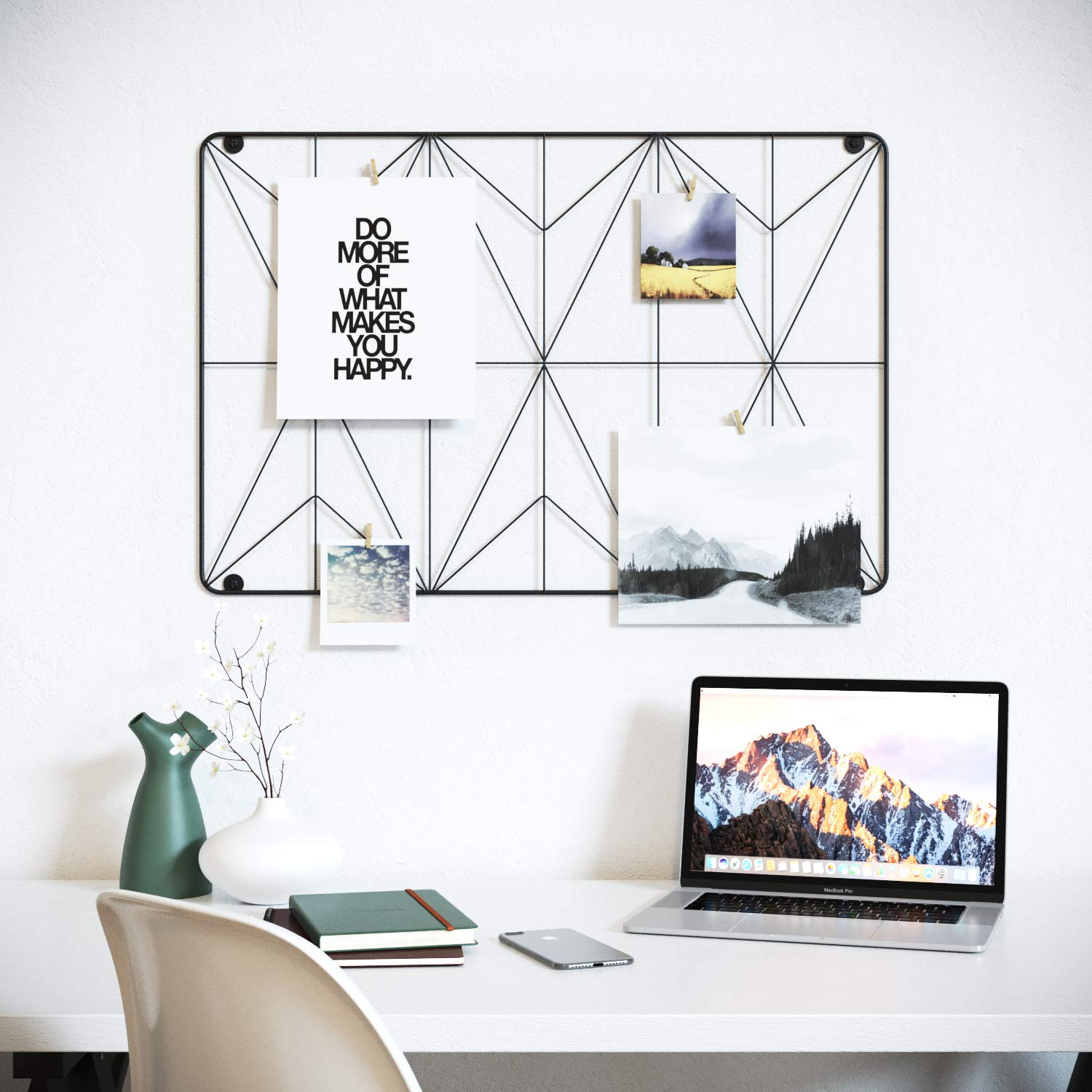 Cevillo Stylish Wire Metal Wall Grid Panel - Perfect as Photo Frame, Office Organization - Black Multi-Functional Wall Storage Display (Black | Rectangle)
