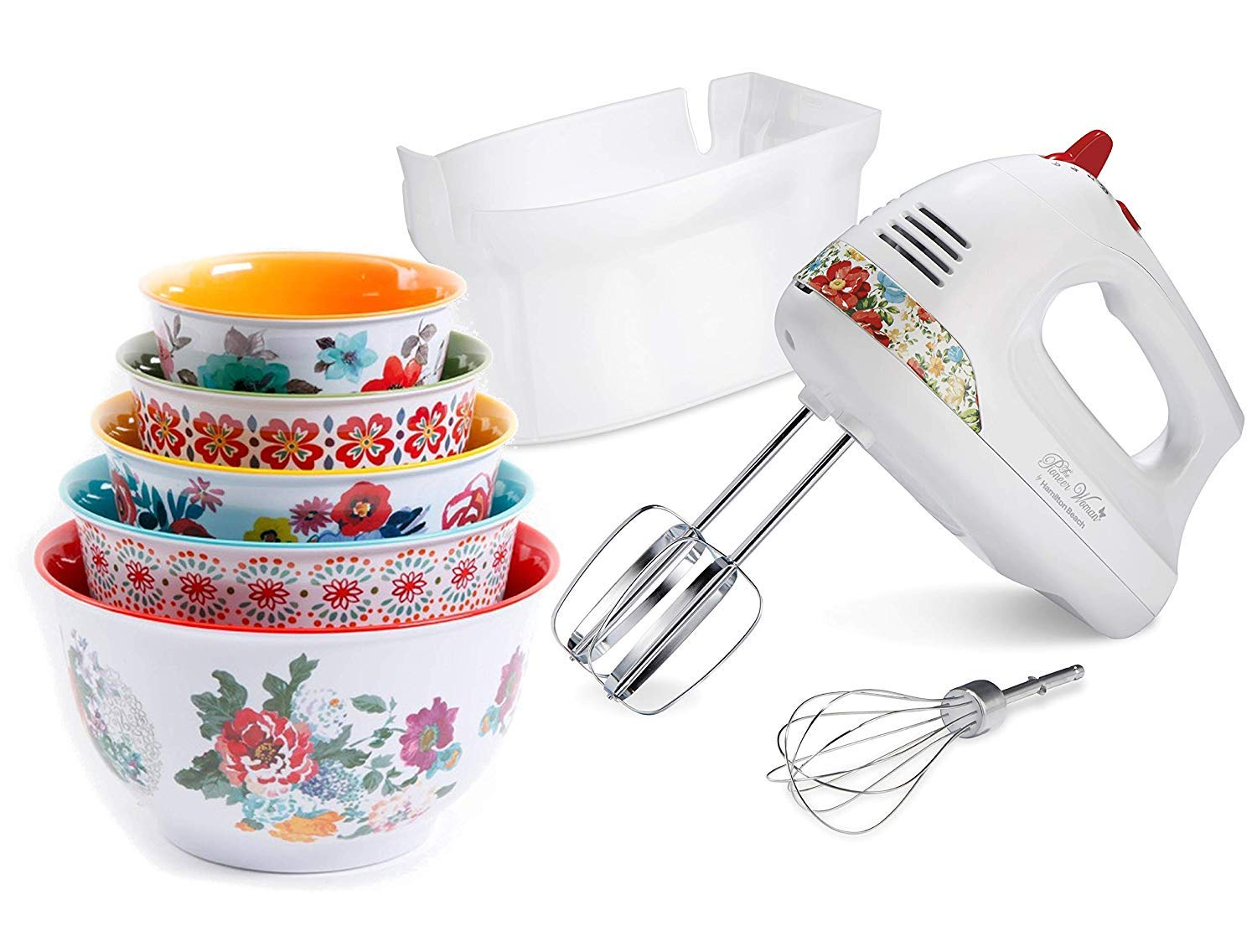 The Pioneer Woman Hand Mixer with Vintage Floral Snap-On Case with 5pcs Nesting Mixing Bowl with Lids Set