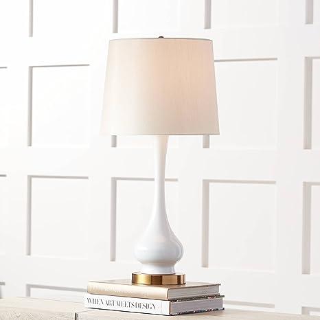Lula Mid Century Modern Table Lamp White Gourd Off White Poly Blend Drum Shade For Living Room Family Bedroom Bedside 360 Lighting