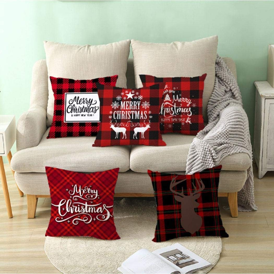 Amazon.com: OYTRO Cute Christmas Series Plaid Pillowcase ...