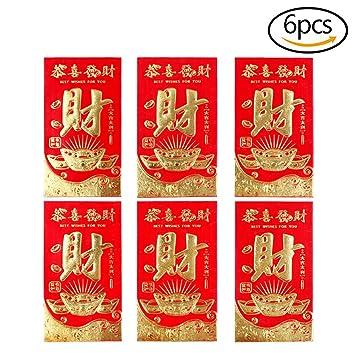 """MCREE 6 Stück Pcs Chinese Red Briefumschläge """"breit Reichtum ..."""