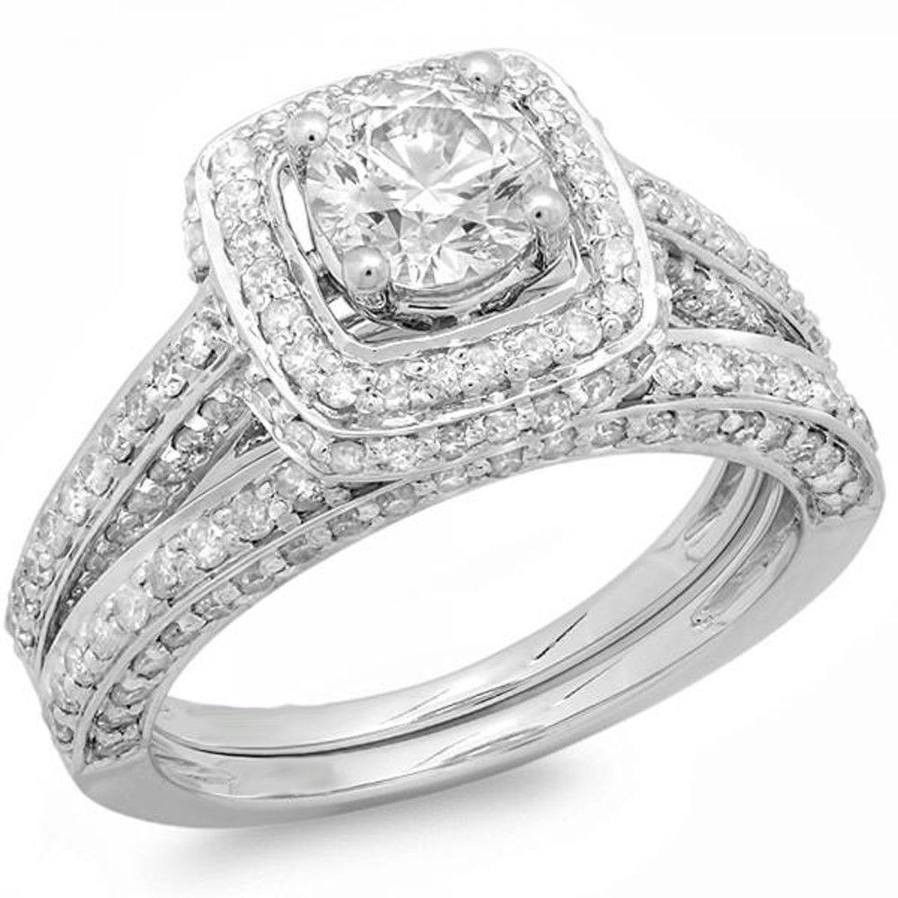 1.85 Carat (ctw) 14K White Gold Round Diamond Halo Style Bridal Engagement Ring Set (Size 7)