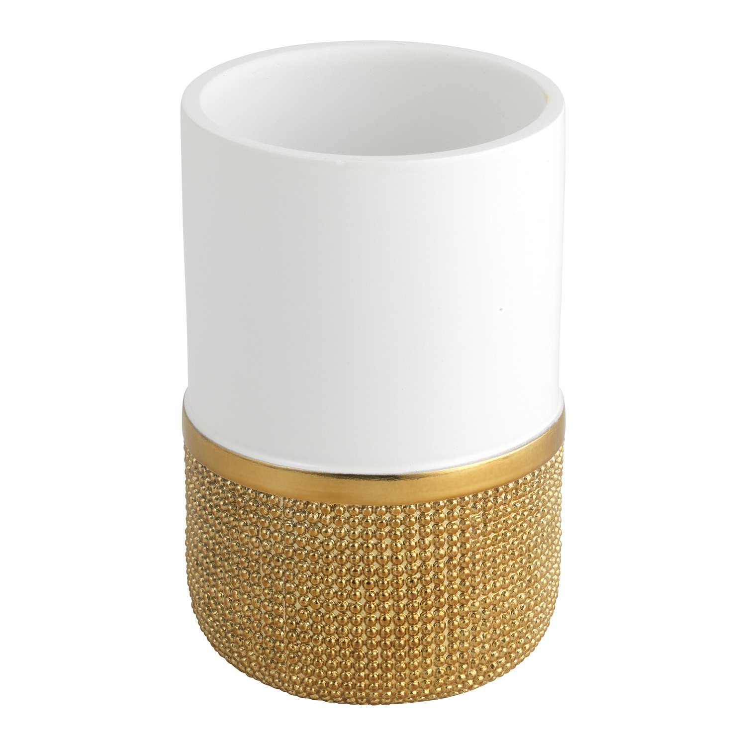 Norizan Collection Popular Bath Waste Basket Gold//White 800579