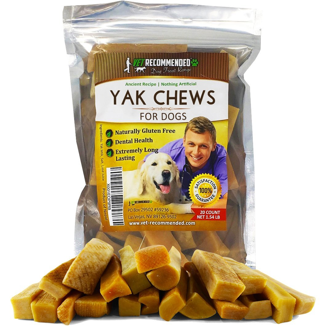 Vet Recommended - Yak Chew - (20 Count / 1.54LB) - Dog Chews Long Lasting - The 100% Natural Healthy Dog Chew - Extreme Long Lasting Cheese Chew Made from Himalayan Yak Milk. by Vet Recommended
