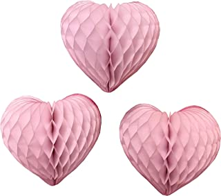 product image for 3-Pack 12 Inch Honeycomb Heart Decorations, Vintage Pink