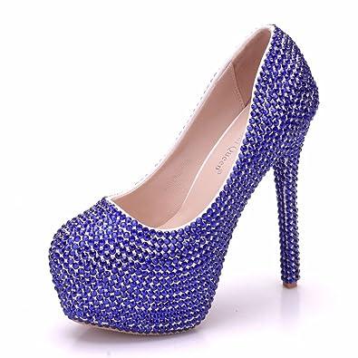 Damenschuhe Fein mit Spitzen Strass Quaste Hochzeit Schuhe, 34, Blau LEIT