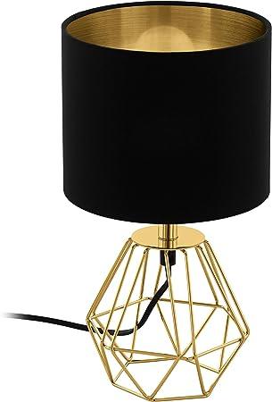 Eglo Tischlampe Carlton 2 1 Flammige Vintage Tischleuchte Nachttischlampe Aus Stahl Und Stoff Farbe Gold Schwarz Fassung E14 Inkl Schalter Amazon De Beleuchtung