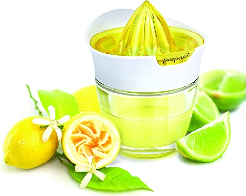 Prepara-Glass-Citrus-Juicer-with-Storage,-Yellow