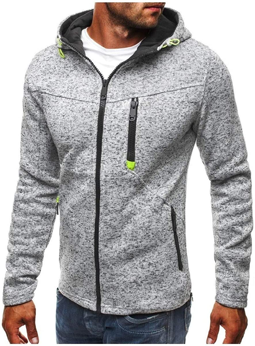 WillingStart Mens Zipper Regular Long Sleeve Hooded Slim Sweatshirt Top Outwear