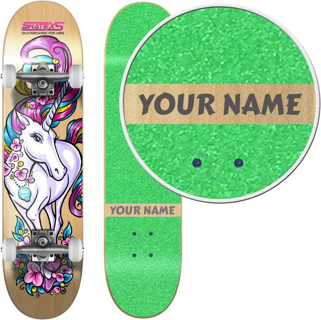 SkateXS Personalized Beginner Unicorn Girls Skateboard