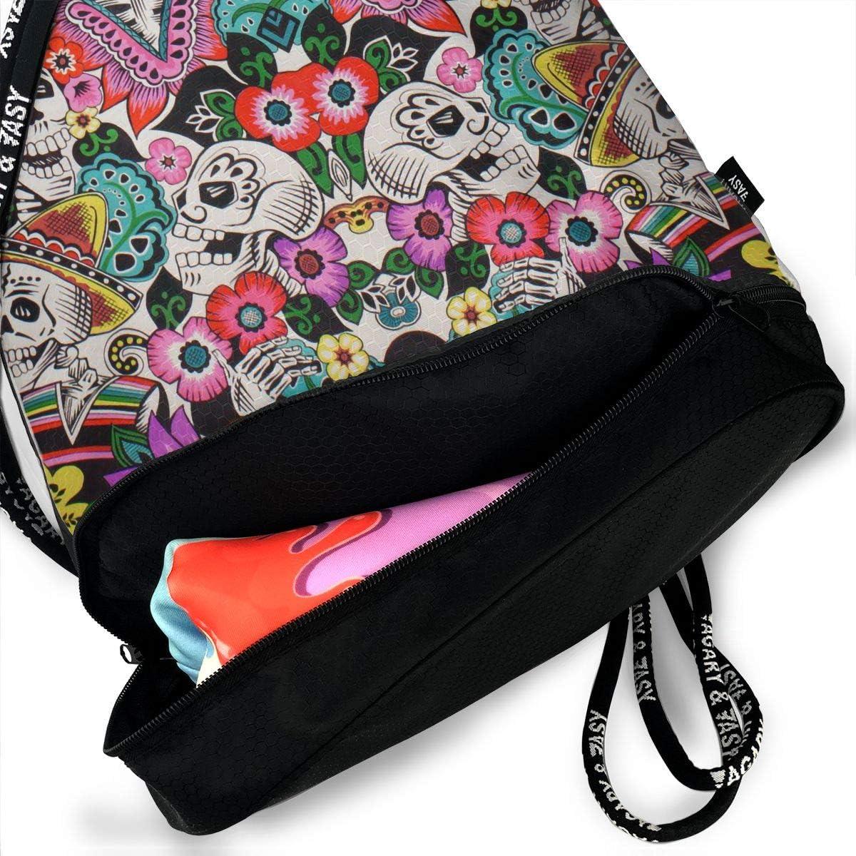 Drawstring Backpack Sugar Skull Shoulder Bags