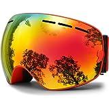 HongDak Gafas de Esquí Unisex Protección UV Desmontable Ajustable Gafas Deporte al Aire Libre Motocicleta Resistente a los Arañazos Protectora Gafas(Rojo)