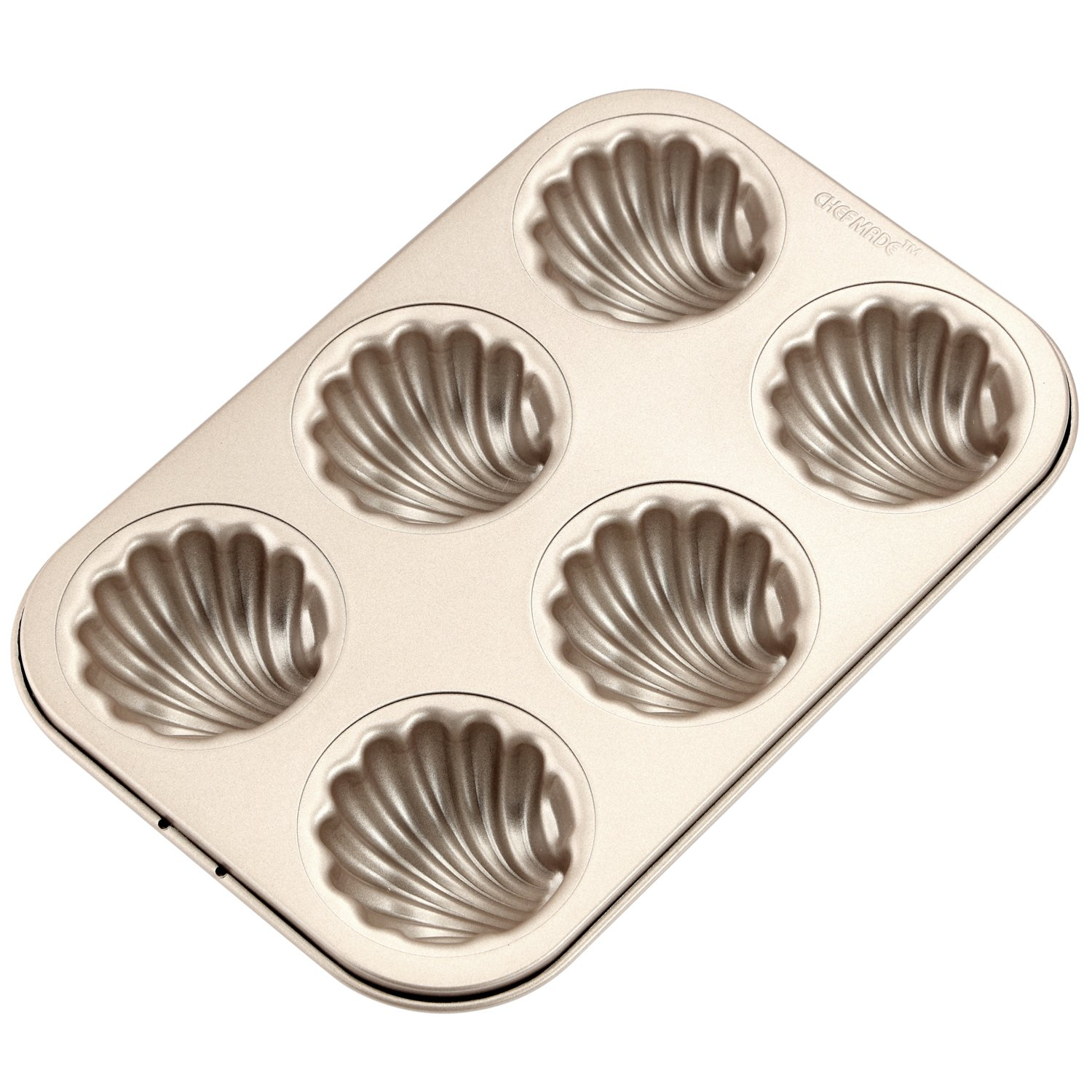 CHEFMADE 6-cavity-2.5'' Madeline Pan, Non-stick Shell-shaped Carbon Steel Madeleine Cake Pan, FDA Approved for Oven Baking (Champagne Gold)
