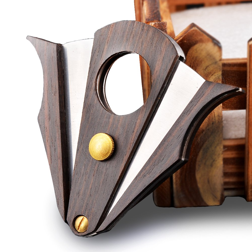 CyJay Cigar Cutter - Stainless Steel Zebra Wood Double Blades Guillotine &Unique Style Cutter Perfect for Most Cigars (gold)