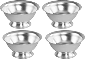 "HOME-X Silver Aluminum Bowls, Serving Dishes, Colorful Food Prep Bowls, Nesting Assorted Colors, Set of 4 – 4 ½"" D x 2"" H"