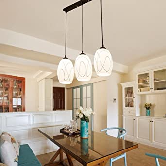KHSKX Moderna simple led lámpara redonda, tres lámparas, lámparas de ...