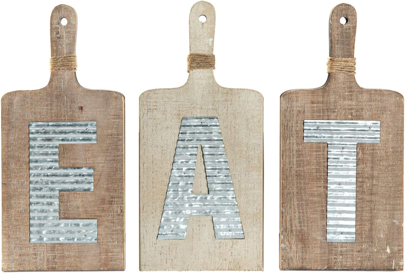 "EMAX HOME Large EAT Wood Sign for Kitchen Wall Decor,Rustic Farmhouse Kitchen Wall Art,Vintage Wooden Plaque with Eat Letters for Kitchen,Distressed Finish 15"" x 7"" Each"