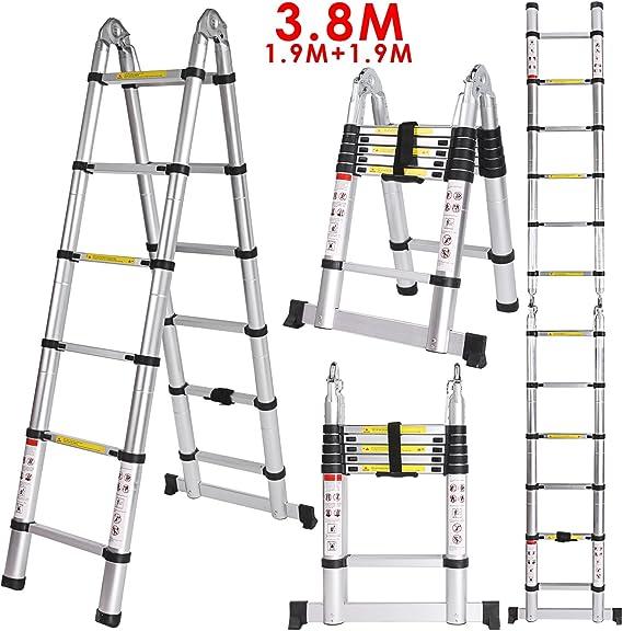 3.8M Escalera Telescópica Plegable de Aluminio(1,9M + 1,9M) con 13 Escalones Antideslizantes Capacidad de 150kg Perfecta para Oficina, Casa y Desván, Portátil, Multi-Propósito y Extensible: Amazon.es: Bricolaje y herramientas