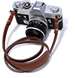Canpis Cuir Sangle d'appareil photo avec coussinet d'épaule, tour de cou d'épaule prolongée Compatible avec pour Canon, Nikon, Sony, Pentax, Fujifilm, Samsung, etc. (Marron)