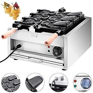 Mophorn Commercial Taiyaki Maker 3Hole Electric Taiyaki Machine 2000W Japanese Waffle Maker Pancake Waffle Maker for Restaurant Home Use